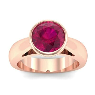 Tapered Bezel-Set Solitaire Ruby Engagement Ring (0.95 Carat)