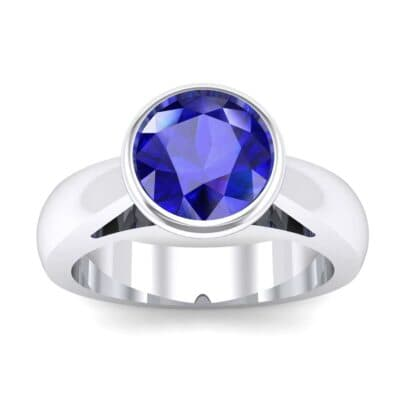 Tapered Bezel-Set Solitaire Blue Sapphire Engagement Ring (0.95 Carat)