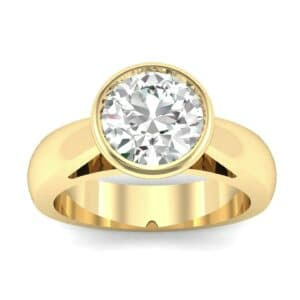 Tapered Bezel-Set Solitaire Diamond Engagement Ring (0.66 Carat)