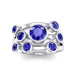 Triple Band Octave Blue Sapphire Ring (0.99 Carat)