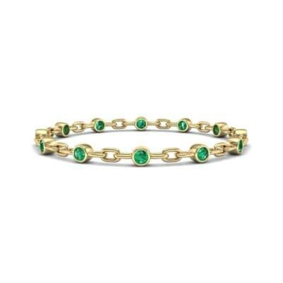 Bezel-Set Emerald Link Bracelet (0.7 CTW) Perspective View