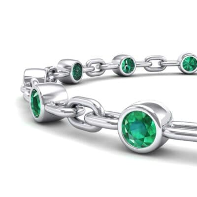 Bezel-Set Emerald Link Bracelet (0.7 CTW) Top Dynamic View