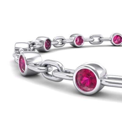 Bezel-Set Ruby Link Bracelet (0.7 CTW) Top Dynamic View
