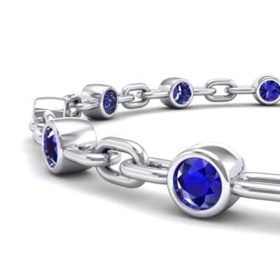 Bezel-Set Blue Sapphire Link Bracelet (0.7 CTW) Top Dynamic View