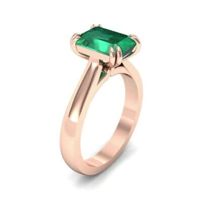Double Claw Prong Emerald-Cut Emerald Engagement Ring (0.66 Carat)