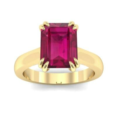 Double Claw Prong Emerald-Cut Ruby Engagement Ring (0.66 Carat)