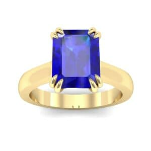 Double Claw Prong Emerald-Cut Blue Sapphire Engagement Ring (0.66 Carat)
