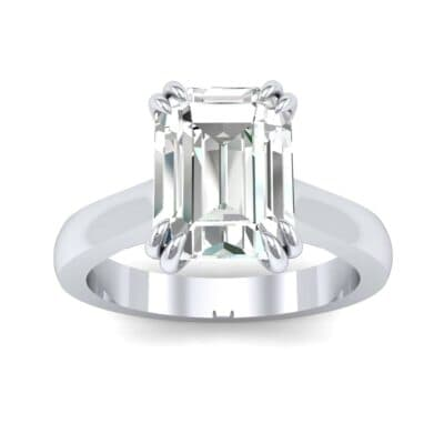 Double Claw Prong Emerald-Cut Diamond Engagement Ring (0.66 Carat)