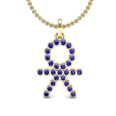 BOY Bezel-Set Blue Sapphire Pendant (0.41 CTW) Top Dynamic View