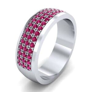Triple Line Half Eternity Ruby Wedding Ring (1.38 Carat)