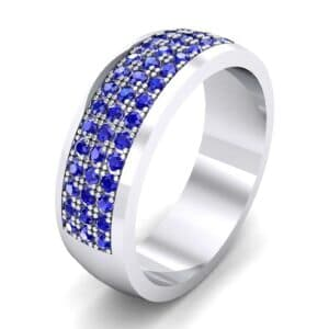 Triple Line Half Eternity Blue Sapphire Wedding Ring (1.38 Carat)