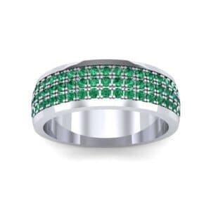 Triple Line Half Eternity Emerald Wedding Ring (1.38 Carat)