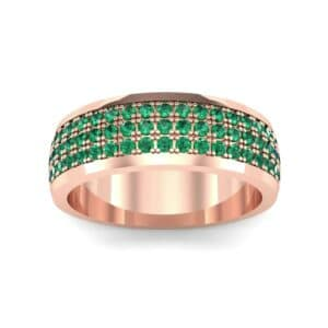 Triple Line Half Eternity Emerald Wedding Ring (1.38 Carat)