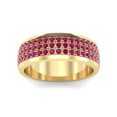 Triple Line Half Eternity Ruby Wedding Ring (1.38 Carat)