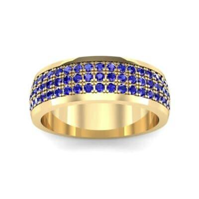 Triple Line Half Eternity Blue Sapphire Wedding Ring (1.38 Carat)