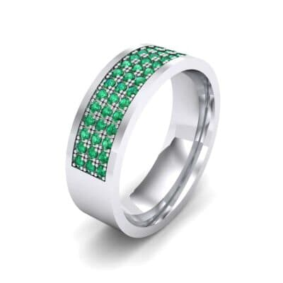 Small Triple Line Emerald Wedding Ring (1.2 Carat)