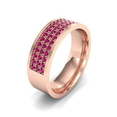 Small Triple Line Ruby Wedding Ring (1.2 Carat)