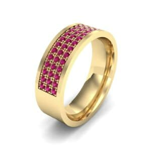 Small Triple Line Ruby Wedding Ring (1.2 Carat)