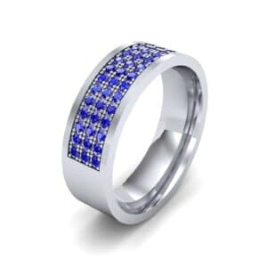 Small Triple Line Blue Sapphire Wedding Ring (1.2 Carat)