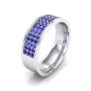 Small Triple Line Blue Sapphire Wedding Ring (1.2 Carat)