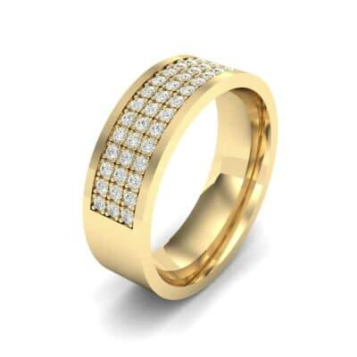 Small Triple Line Diamond Wedding Ring (0.9 Carat)
