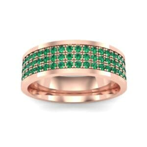 Small Triple Line Emerald Wedding Ring (1.2 Carat)