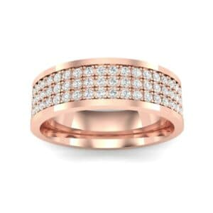 Small Triple Line Diamond Wedding Ring (0.9 Carat)