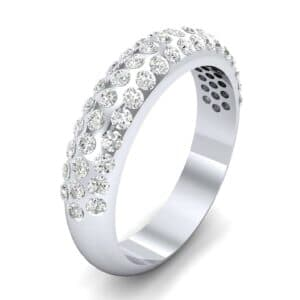 Domed Three-Row Pave Diamond Ring (0.83 Carat)