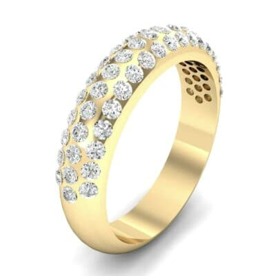 Domed Three-Row Pave Diamond Ring (0.83 Carat)