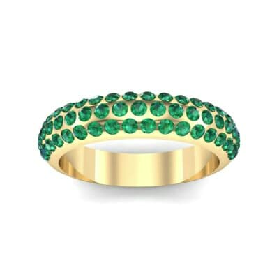 Domed Three-Row Pave Emerald Ring (1.1 Carat)