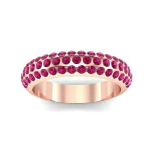 Domed Three-Row Pave Ruby Ring (1.1 Carat)