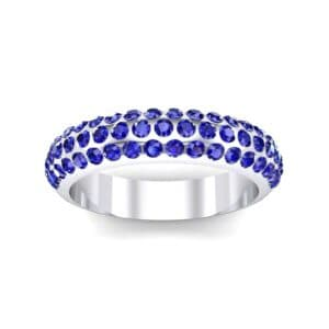 Domed Three-Row Pave Blue Sapphire Ring (1.1 Carat)