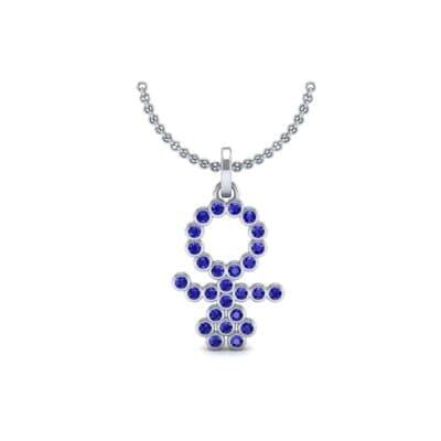 GIRL Bezel-Set Blue Sapphire Pendant (0.41 CTW) Perspective View