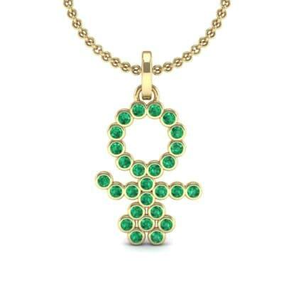 GIRL Bezel-Set Emerald Pendant (0.41 CTW) Top Dynamic View