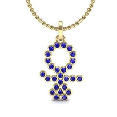 GIRL Bezel-Set Blue Sapphire Pendant (0.41 CTW) Top Dynamic View