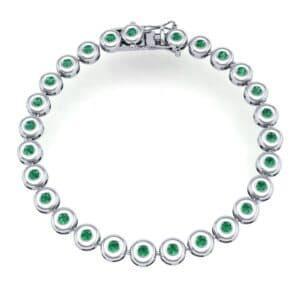 Tiny Bezel-Set Emerald Tennis Bracelet (1.62 Carat)