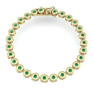 Tiny Bezel-Set Emerald Tennis Bracelet (1.62 Carat)