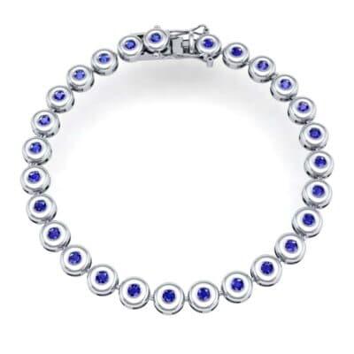 Tiny Bezel-Set Blue Sapphire Tennis Bracelet (1.62 CTW) Perspective View
