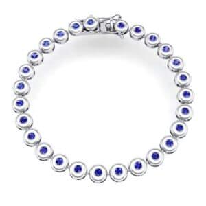 Tiny Bezel-Set Blue Sapphire Tennis Bracelet (1.62 Carat)