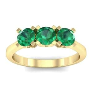 Tapered Trinity Emerald Engagement Ring (1.05 Carat)