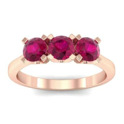 Tapered Trinity Ruby Engagement Ring (1.05 Carat)