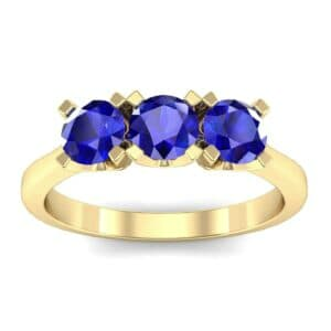 Tapered Trinity Blue Sapphire Engagement Ring (1.05 Carat)