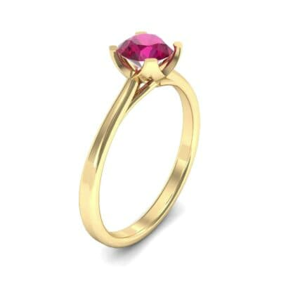 Tapered Trellis Solitaire Ruby Engagement Ring (0.7 Carat)