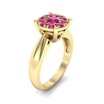 Tapered Plain Shank Halo Ruby Engagement Ring (0.92 Carat)