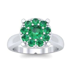 Tapered Plain Shank Halo Emerald Engagement Ring (0.92 Carat)