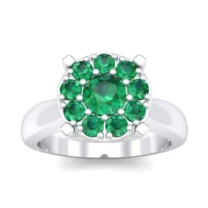 Tapered Plain Shank Halo Emerald Engagement Ring (0.92 Carat)