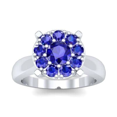 Tapered Plain Shank Halo Blue Sapphire Engagement Ring (0.92 Carat)