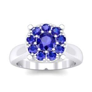 Tapered Plain Shank Halo Blue Sapphire Engagement Ring (0.92 Carat)