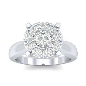 Tapered Plain Shank Halo Diamond Engagement Ring (0.63 Carat)