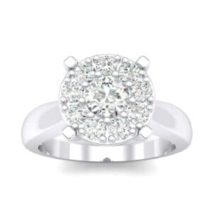 Tapered Plain Shank Halo Diamond Engagement Ring (0.63 Carat)
